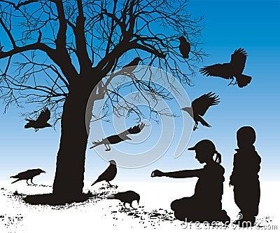 Children fed birds