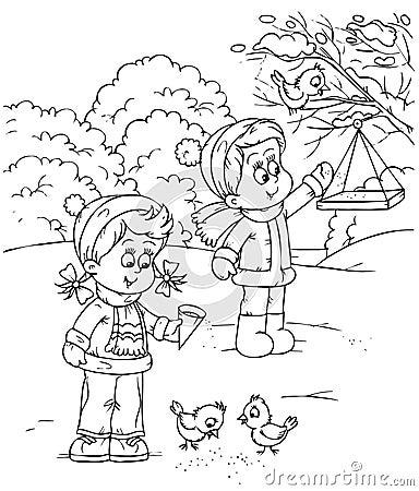 Children feed birds