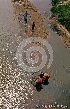 Children Fishermen Editorial Image