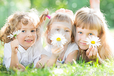 Children with flowers in park