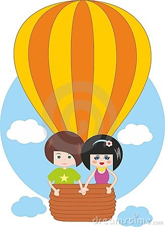 Children flying on hot air balloon
