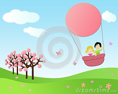 Children flying in a hot air balloon