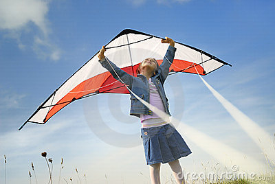 Children flying with a kite