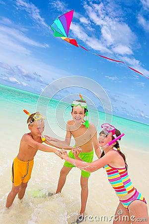 Free Children Flying Kite In Sea Stock Images - 16624794
