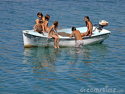 Children in fun on the boat