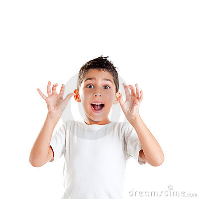 Children with funny gesture open fingers