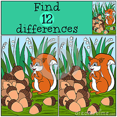 Free Children Games: Find Differences. Little Cute Squirrel. Royalty Free Stock Photo - 71211855