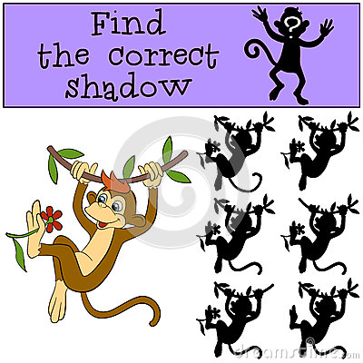 Free Children Games: Find The Correct Shadow. Little Cute Monkey. Stock Images - 71221914
