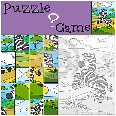 Free Children Games: Puzzle. Little Cute Zebra. Royalty Free Stock Photos - 71306168