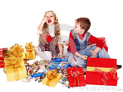 Children with  gift box and sweet.