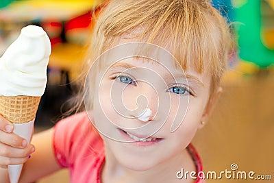 Children girl happy with cone icecream
