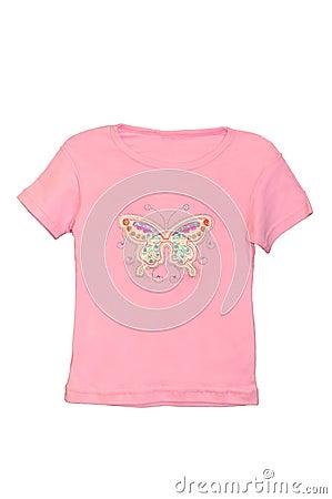Children girl pink T-shirt isolated