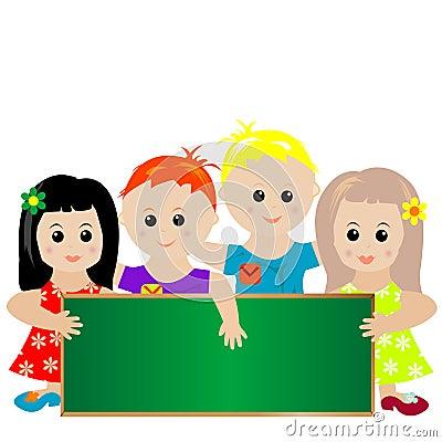 Children with green banner