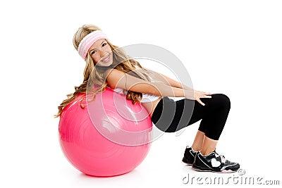 Children gym yoga girl with pilates pink ball
