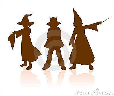 Children halloween silhouettes