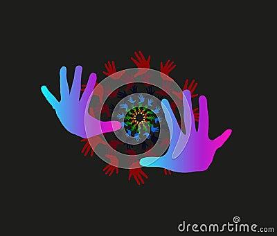 Children hands as symbol of team work, innovation, unity.