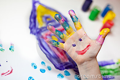 Children Hands doing Fingerpainting