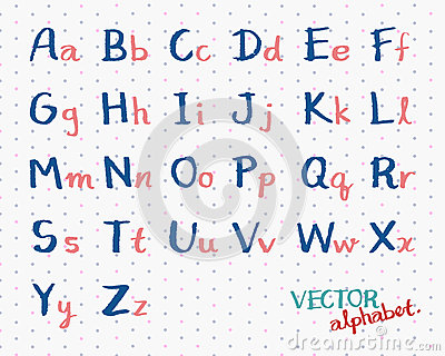 Common Worksheets capital letters and small letters : Children Handwritten Alphabet Vector. English Font Letters ...