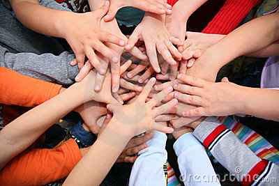 Children have combined hands together