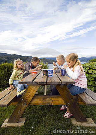 Free Children Having Camp Meal. Royalty Free Stock Photography - 2995667