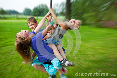 Children having fun with flying fox