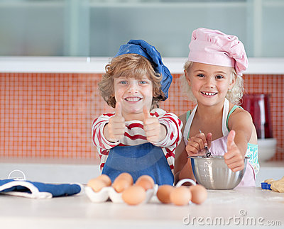 Children having fun in the Kitchen