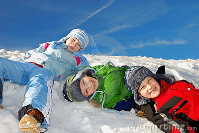 Children having fun in snow
