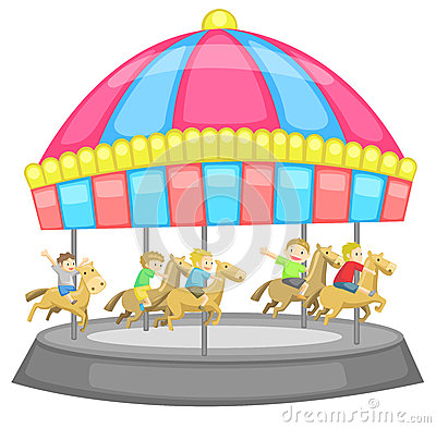 Children having a good time in a carousel with whi