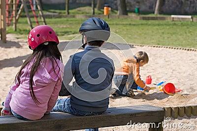 Children with Helmets