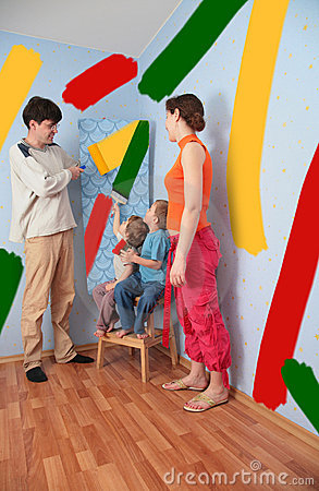 Children help parents to do repair room, collage