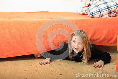 Children Hiding Under Bed Stock Photo Image 48518364