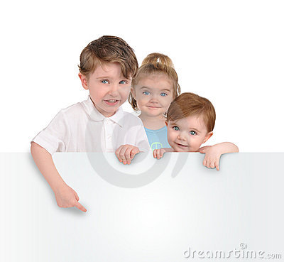 Children Holding Blank White Message Sign