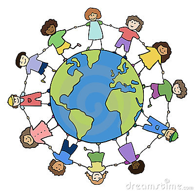 Children Holding For Hands Around Planet Stock Image - Image: 20925911