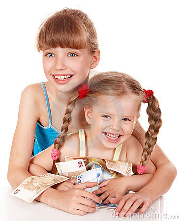 Children holding pile of money.