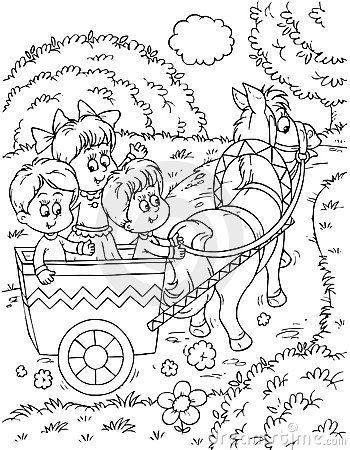 Children in a horse-drawn carriage
