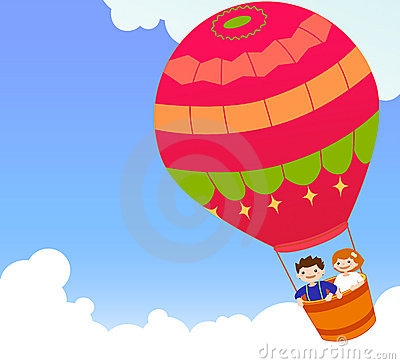 Children and hot air ballon