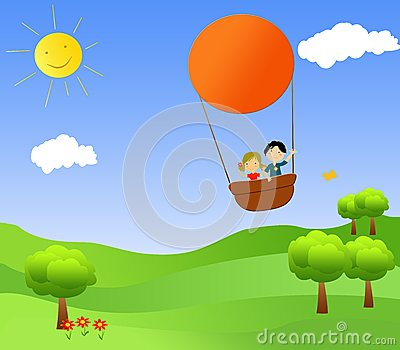 Children in a hot air balloon
