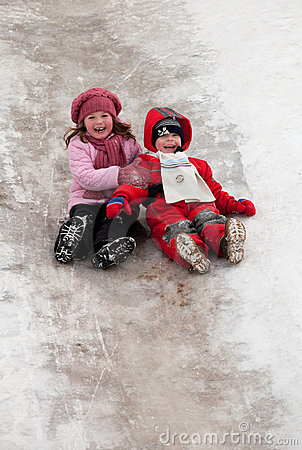 Children on icy descent