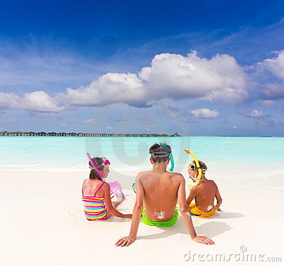 Children on idyllic beach