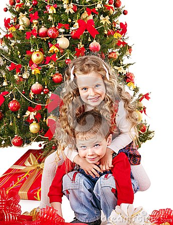 Free Children In Santa Hat With Gift Box . Stock Photography - 28031882