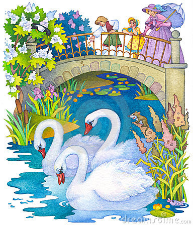 Free Children In The Park Feeding The Swans On The Pond Stock Photo - 17108180