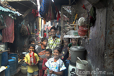 Children at Indian slum Editorial Stock Photo