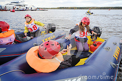 Children in inflatable boats at Powerboat Race Show 2012 Editorial Image