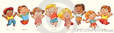 Children jump for joy. Banner