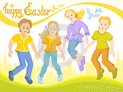 Happy Easter, children are friends, sunny postcard Cartoon Illustration