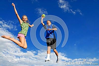 Children jumping high