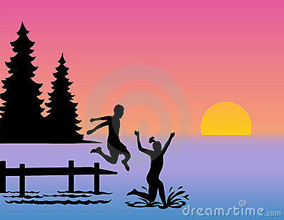 Children Jumping into Lake/eps