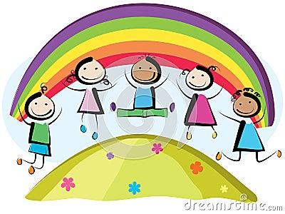 Children jumping Vector Illustration