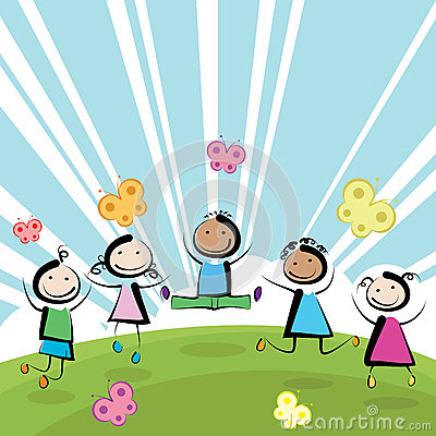 Children jumping Vector Illustration