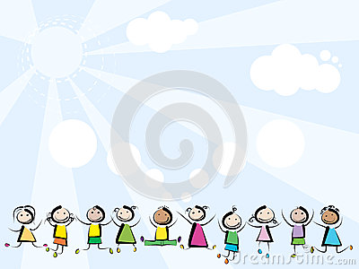 Children jumping on sky background Vector Illustration